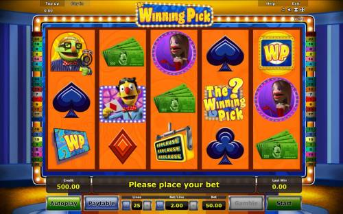 The Winning Pick Review Slots A game show themed main game board featuring five reels and 25 paylines with a $50,000 max payout