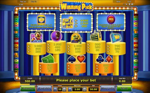 The Winning Pick Review Slots Slot game symbols paytable featuring game show inspired icons.