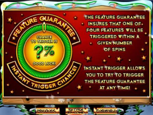 The Elf Wars Review Slots Feature Guarantee insures that a feature will be triggered within a certain number of spins