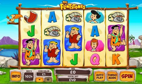 The  Flintstones Review Slots Main game board featuring five reels and 243 winning combinations with a $40,000 max payout