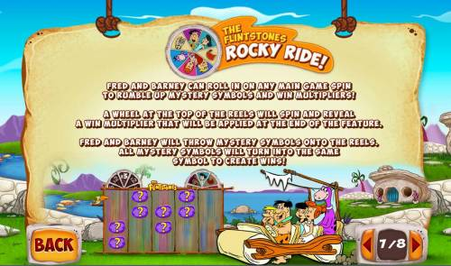 The  Flintstones Review Slots The Flintsones Rocky Ride - Fred and Barney can roll in on any main game spin to rumble up mystery symbols and win multipliers!