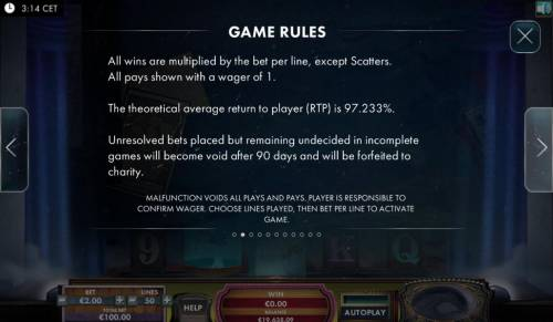 The Great Escape Artist Review Slots The theoretical average return to player (RTP) is 97.233%