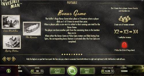 The Invisible Man Review Slots Bonus Game Rules