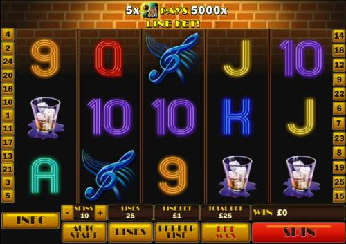 The Jazz Club Review Slots Main game board featuring 5 reels and 25 paylines