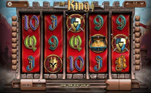 The King Review Slots Main game board featuring five castle themed reels and 10 paylines with a $900,000 max payout