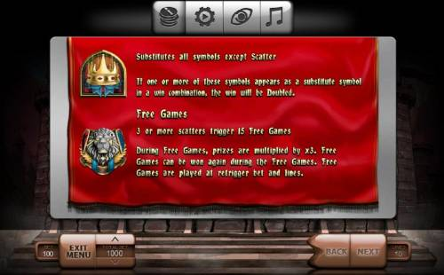 The King Review Slots The crown symbol is wild and substitutes for all symbols except the lion crest scatter symbol. Three or more lion crest scatter symbols triggers 15 free games. During free games, prizes are multiplied by 3x. Free games can be won again during the free gam