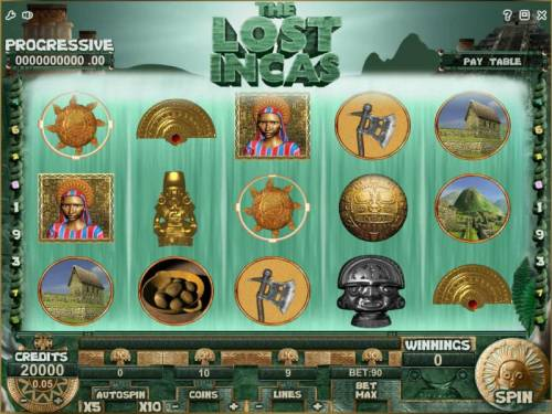 The Lost Incas Review Slots main game board featuring five reels and 9 paylines