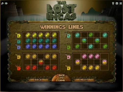The Lost Incas Review Slots payline diagrams