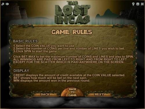 The Lost Incas Review Slots game rules