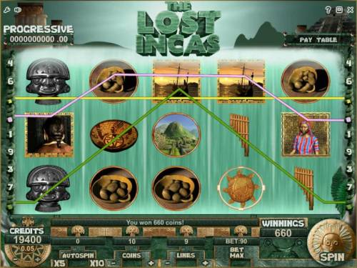 The Lost Incas Review Slots multiple winning paylines triggers a 660 coin big win