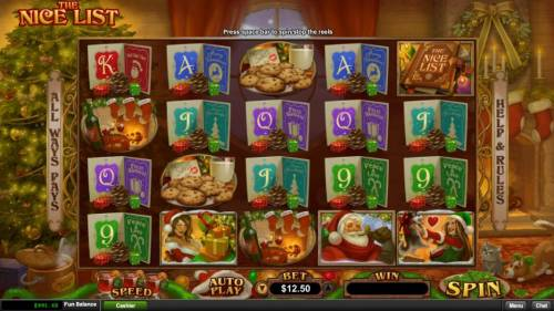 The Nice List Review Slots Main game board based on a Christmas holiday theme, featuring five reels and 1024 winning combinations with a $25,000 max payout