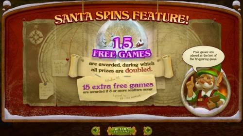 The Nice List Review Slots Santa Spins feature consists of 15 free games with all prizes doubled. 15 extra free games are awarded if 3 or more scatters occur.