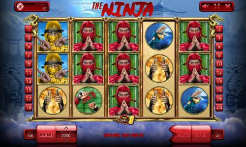 The Ninja Review Slots Main game board featuring five reels and 20 paylines with a $100,000 max payout