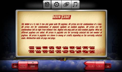 The Ninja Review Slots General Game Rules and Payline Diagrams 1-20