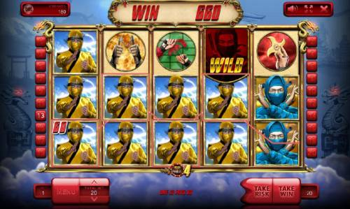 The Ninja Review Slots Multiple winning paylines triggers a 660 coin big win!