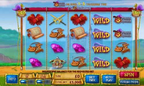 The Three Muskateers Review Slots main game board featuring five reels, 50 paylines and bonus features
