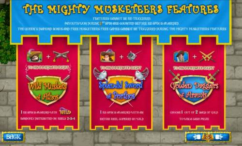 The Three Muskateers Review Slots Wild muskets of Athos, Splendid Swords of Porhos, Golden Daggers of Aramis feature rules