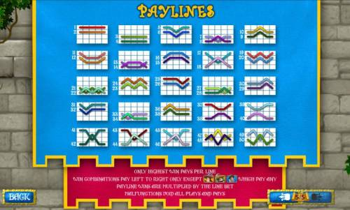 The Three Muskateers Review Slots 50 payline diagrams