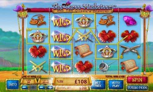 The Three Muskateers Review Slots Stacked wilds triggers multiple winning paylines