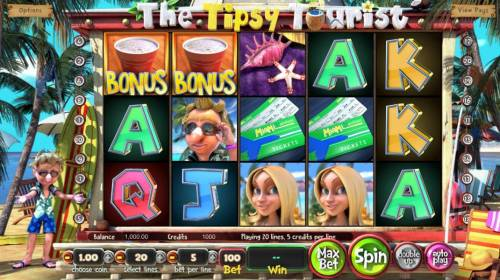 The Tipsy Tourist Review Slots Main game board featuring five reels and 20 paylines with a $8,750 max payout