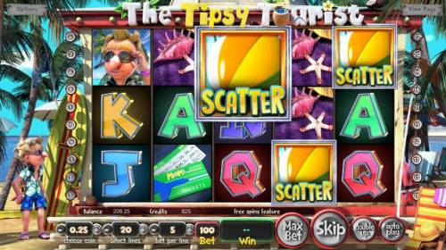 The Tipsy Tourist Review Slots Three beach ball scatter symbols triggers 8 free spins