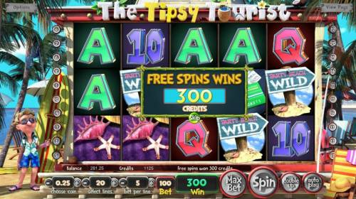 The Tipsy Tourist Review Slots Free Spins Feature pays out a total of 300 credits.