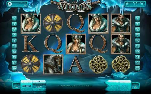 The Vikings Review Slots Main game board featuring five reels and 20 paylines with a $100,000 max payout