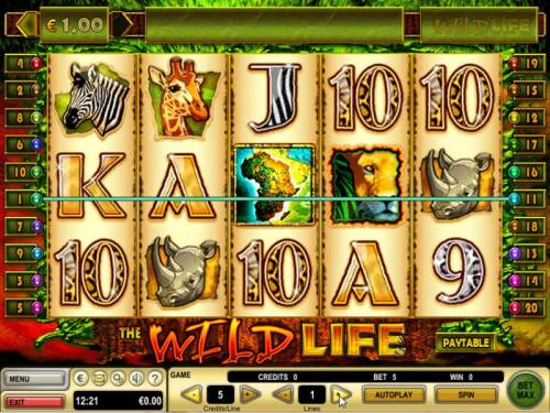The Wild Life Review Slots Main game board featuring five reels and 20 paylines with a $12,500 max payout