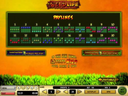 The Wild Life Review Slots Payline Diagrams 1-20
