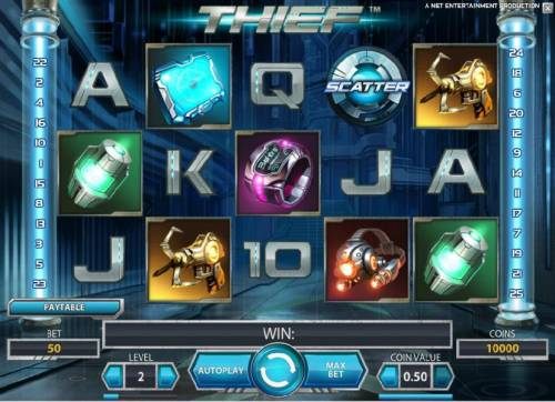 Thief Review Slots main game board featuring five reels and 25 paylines