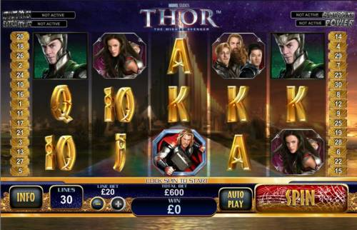 Thor the Mighty Avenger Review Slots main game board featuring 5 reels and 30 paylines