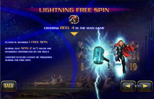 Thor the Mighty Avenger Review Slots Lightning Free Spin - covering reel 4 in the main game - player is awarded 1 free spin