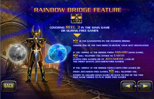 Thor the Mighty Avenger Review Slots Rainbow Bridge Feature - covering reel 3 in the main game or during free games