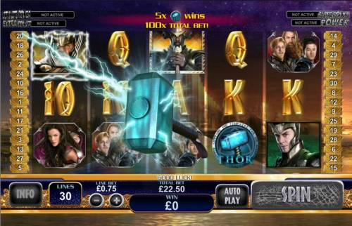 Thor the Mighty Avenger Review Slots Thor's hammer throws lightning bolts to random symbols changing them into locked wilds