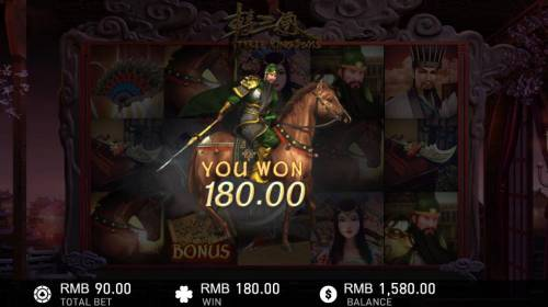 Three Kingdoms Review Slots Instant win triggers a 180 credit payout