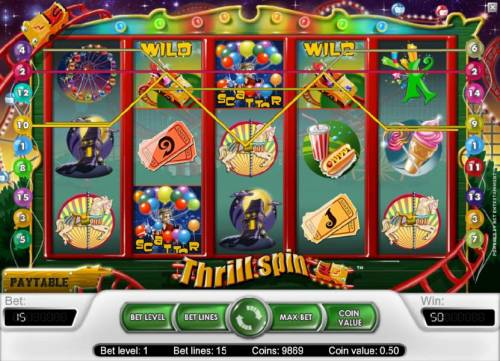 Thrill Spin Review Slots 50 coin jackpot triggered by multiple winning paylines