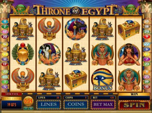 Throne of Egypt Review Slots main game board featuring 5 reels and 25 paylines