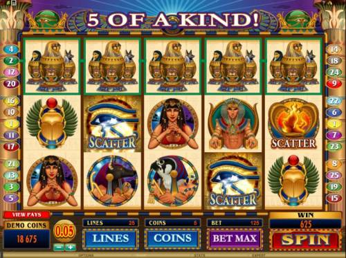 Throne of Egypt Review Slots here is an example of a five of a kind triggering a 625 coin jackpot