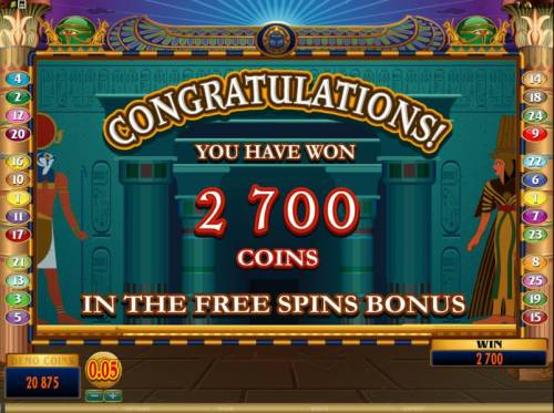 Throne of Egypt Review Slots the free spins bonus feature paid out a whooping 2700 coins