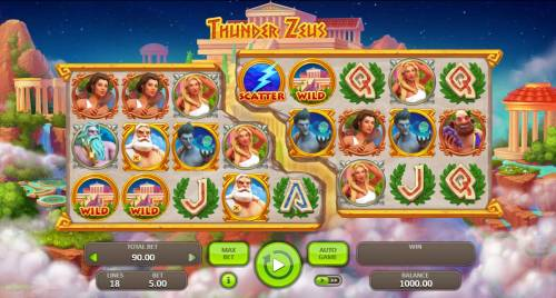 Thunder Zeus Review Slots Main game board featuring five reels and 18 paylines with a $5,000 max payout.