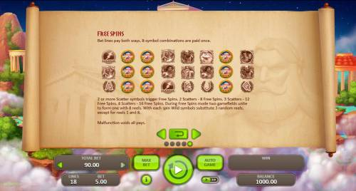 Thunder Zeus Review Slots Free Spins bet lines pay both ways. 8 symbol combinations are paid once.