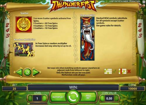 Thunderfist Review Slots scatter, stacked wild and random multiplier game rules