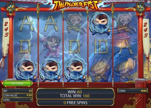 Thunderfist Review Slots four of a kind pays out 60 coins during free spins