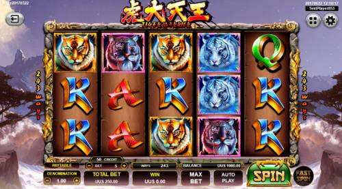 Tiger Warrior Review Slots Main game board featuring five reels and 243 ways to win with a $10,000 max payout.