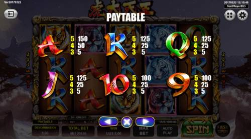 Tiger Warrior Review Slots Low value game symbols paytable
