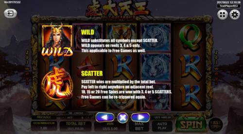 Tiger Warrior Review Slots Wild substitutes for all symbols except scatter and 3 or more scatters awards up to 20 free games