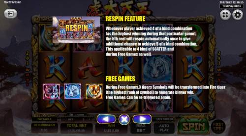 Tiger Warrior Review Slots Re-Spins feature and Free Games Rules