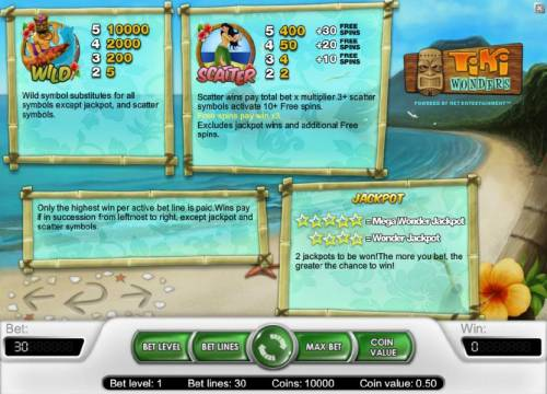 Tiki Wonders Review Slots Bonus, wild, scatter and jackpot rules and payouts