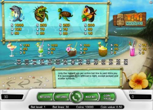 Tiki Wonders Review Slots slot game symbols paytable and payline diagrams
