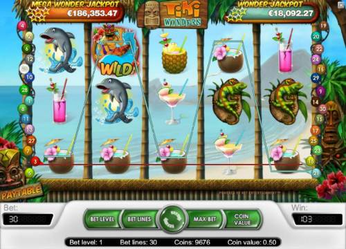 Tiki Wonders Review Slots multiple winning betlines triggers a 103 coin jackpot